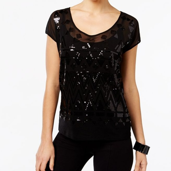 efe70a30d2 INC Sequined Sheer Tie-Back Top w  Cami. Boutique. INC International  Concepts